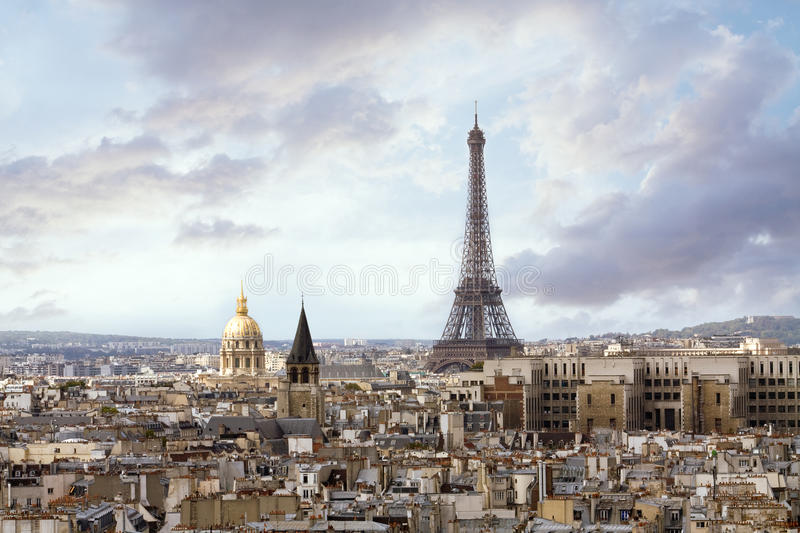 Paris from high angle view. Eiffel Tower and roofs of Paris from high angle view royalty free stock photo