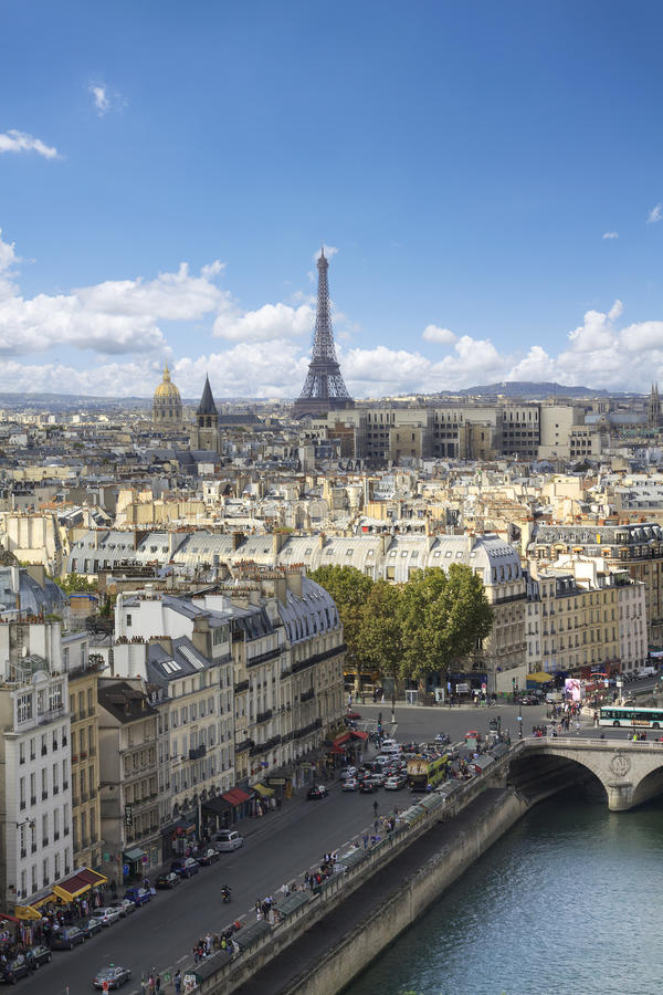 Paris from high angle view. Eifel Tower and roofs of Paris from high angle view stock photography