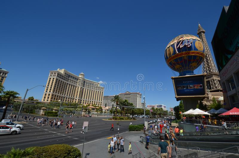 Paris Hotel and Casino, Bellagio Hotel and Casino, landmark, town, city, road royalty free stock image