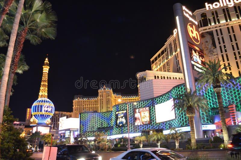 Paris Hotel and Casino, Las Vegas, The Strip, metropolitan area, landmark, city, night. Paris Hotel and Casino, Las Vegas, The Strip is metropolitan area, night stock photo