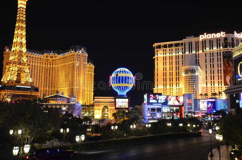 Paris Hotel and Casino, Planet Hollywood Resort and Casino, Las Vegas, metropolitan area, city, landmark, night. Paris Hotel and Casino, Planet Hollywood Resort stock photo
