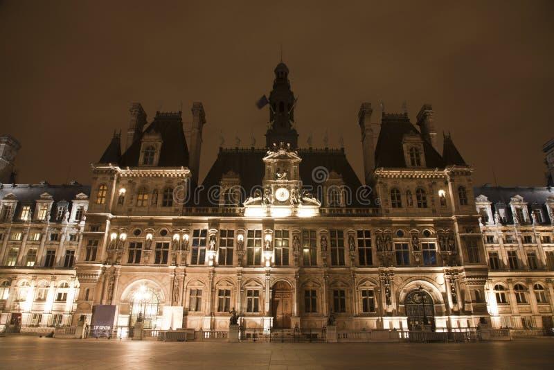 Paris Hotel De Ville In The Night Stock Image Image Of