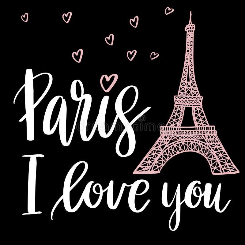 Paris I förälskelse dig stock illustrationer