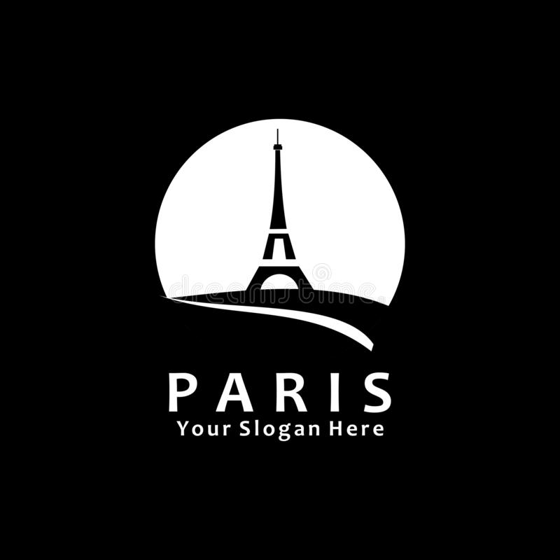 Paris icon logo template design vector illustration. Tower, building, abstract, graphic, estate, eiffel, real, isolated, symbol, element, grid, background royalty free illustration