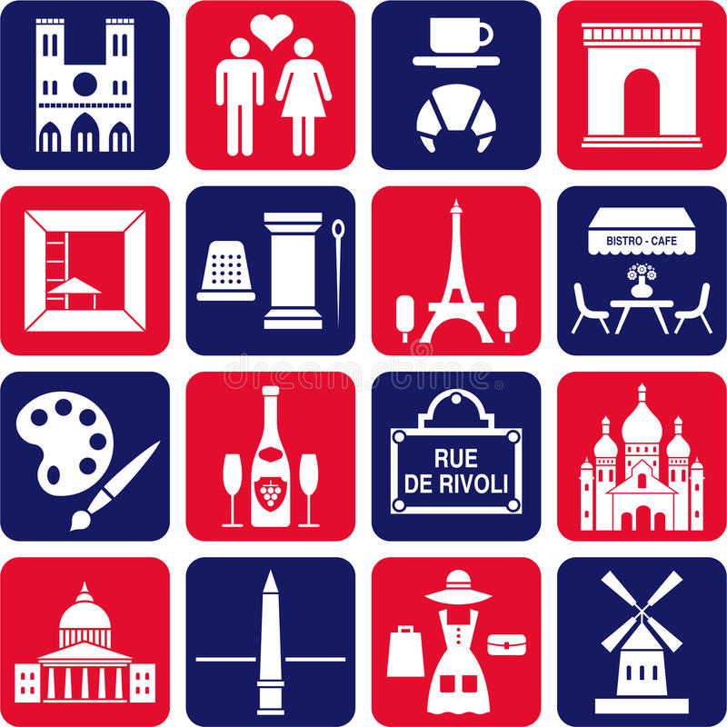 Paris icons vector illustration