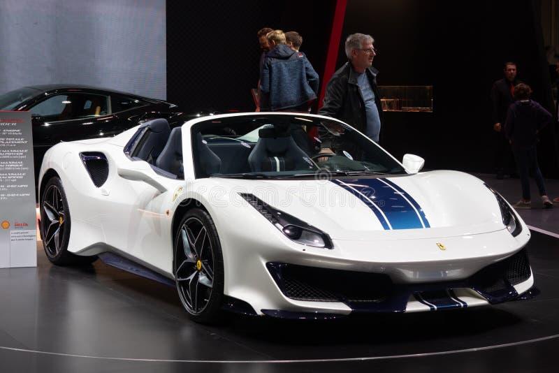 Paris, Ile de France / France - October 07 2018 : Mondial Ferrari 488 Spider Pista, Paris Motor Show. 2018 royalty free stock images