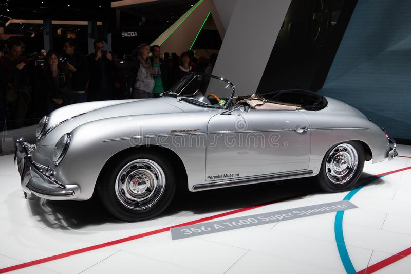 Paris, Ile de France / France - October 07 2018 : Mondial Porsche Speedsters at the Paris Motor Show 356 Speedster A 1600. Super royalty free stock photos