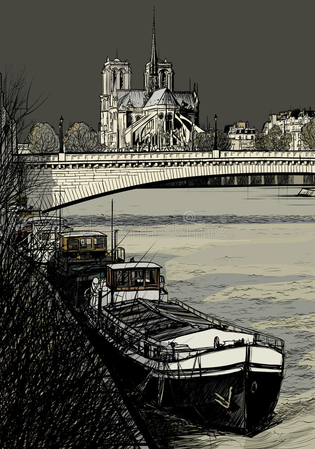 Paris - Ile de la cite - barges stock illustration