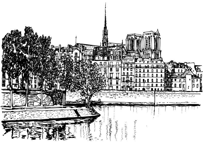 Paris - Ile de la citerar stock illustrationer