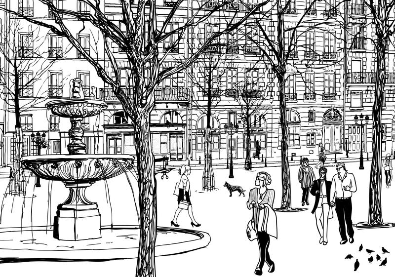 paris imaginacyjny kwadrat ilustracji