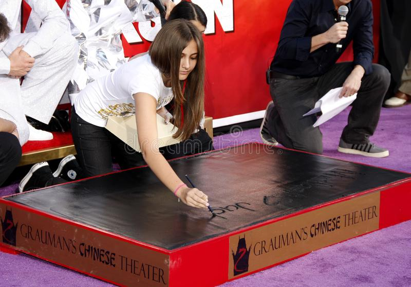 Paris Jackson. At the Michael Jackson Hand And Footprint Ceremony held at the Grauman`s Chinese Theatre in Los Angeles, California, United States on January 26 stock image