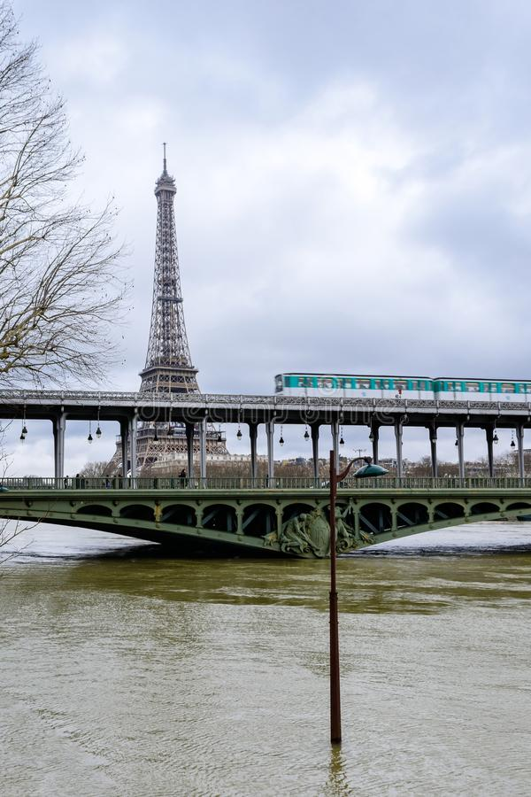 The Seine in Paris in flood stock photos
