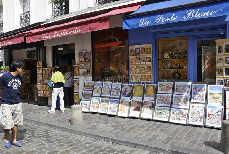 Paris, July 17:Arts Shops from Montmartre in Paris stock photo