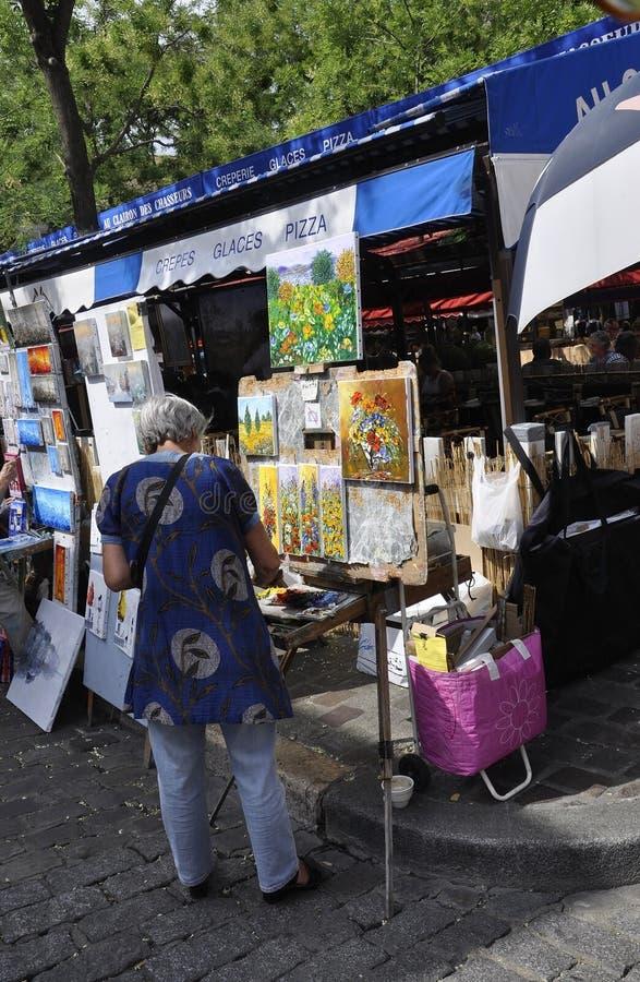 Paris,July 17:Painters in Place de Tertre from Montmartre in Paris stock photography