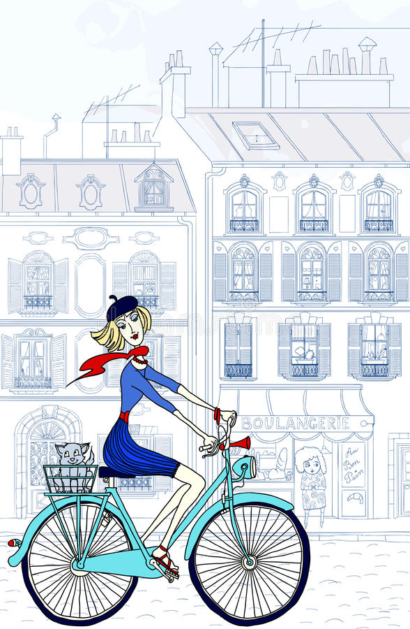 paris kvinna royaltyfri illustrationer