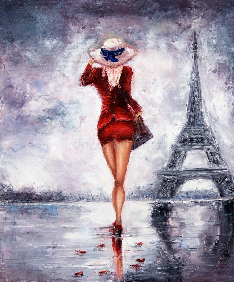 paris kvinna vektor illustrationer