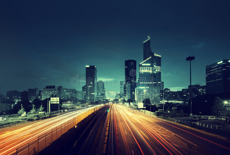 Paris LaDefense in sunset time, France stock images
