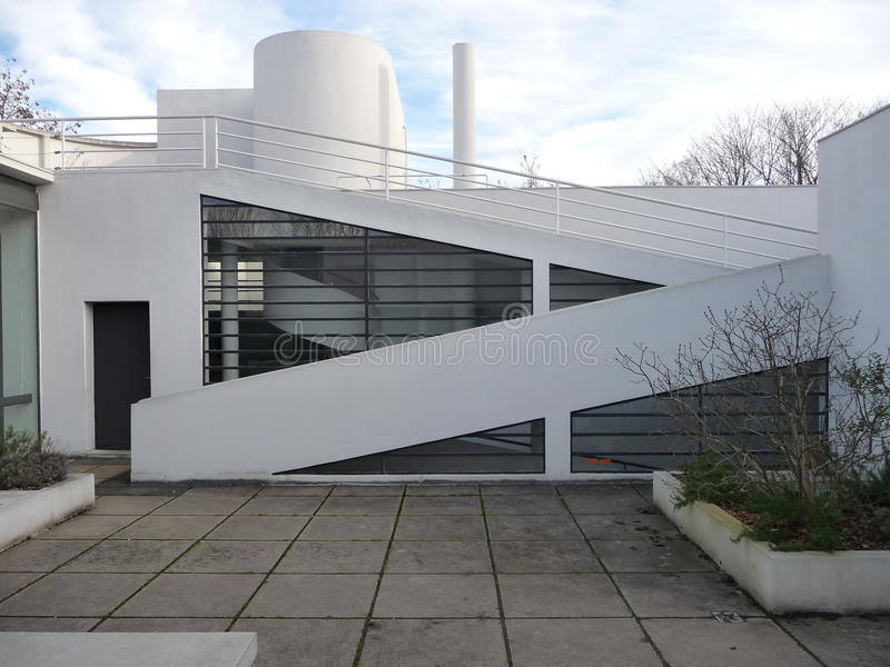 Paris - Landhaus Savoye (Dachspitzen-Patio) stockfoto