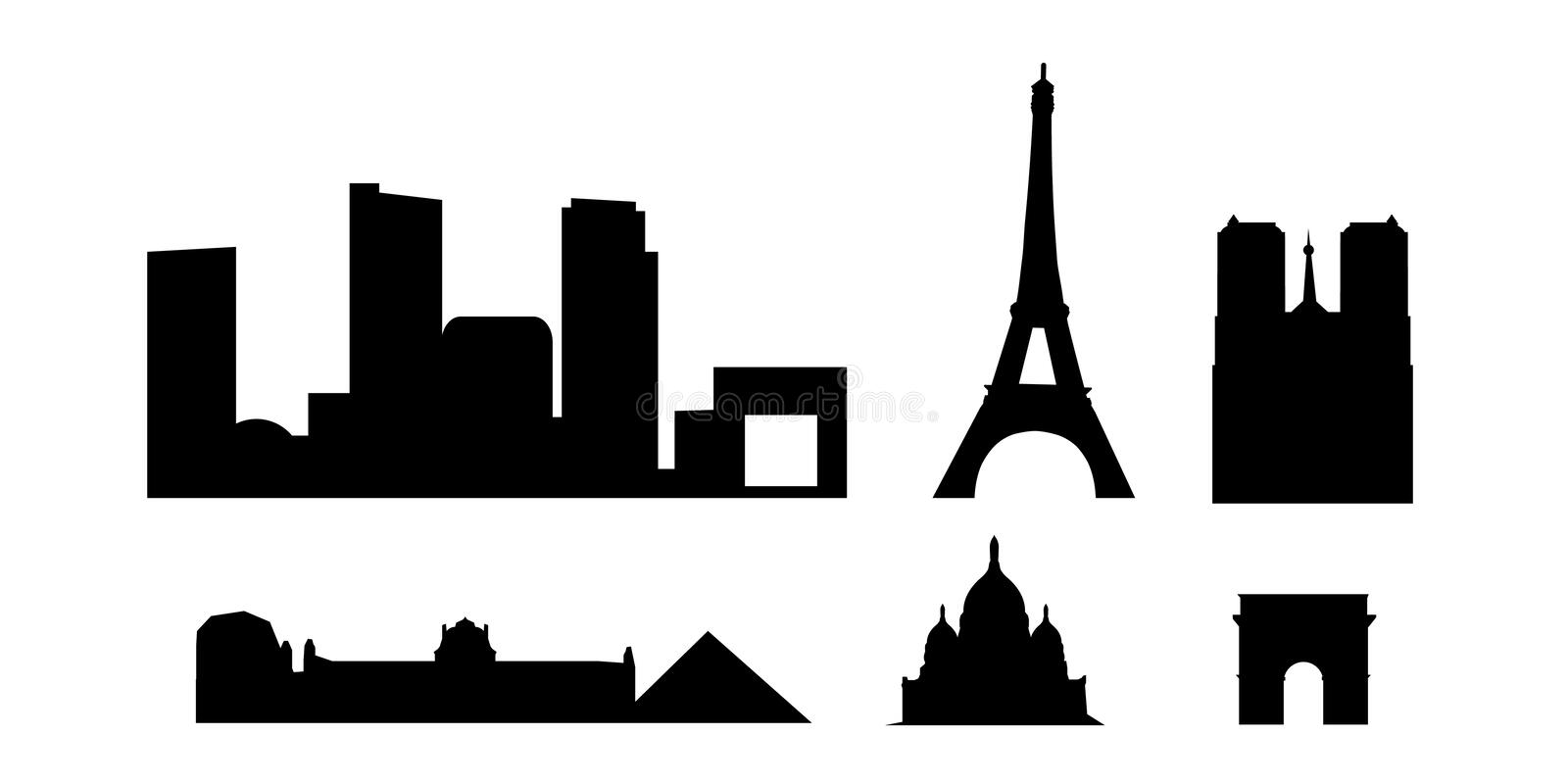 Paris landmarks and monuments royalty free illustration
