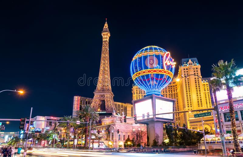 Paris Las Vegas, a hotel and casino in Nevada, United States. Las Vegas, United States - March 19, 2019: Paris Las Vegas, a hotel and casino on the Las Vegas royalty free stock images