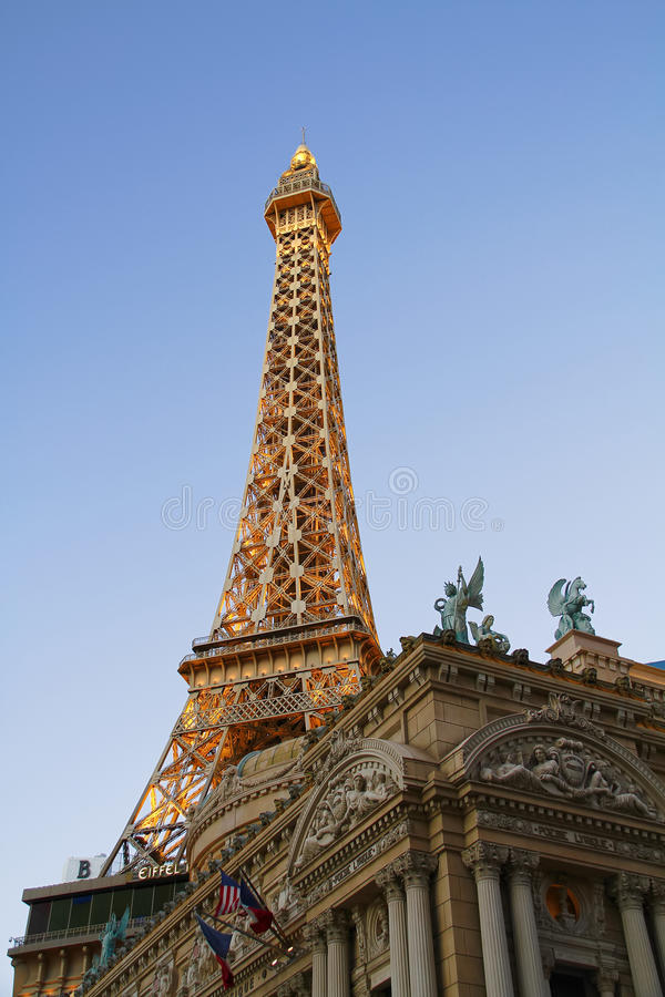 Paris Las Vegas hotel and casino. On October 08, 2016 in Las Vegas. As its name suggests, its theme is the city of Paris in France; it includes a 5/8ths scale stock photography