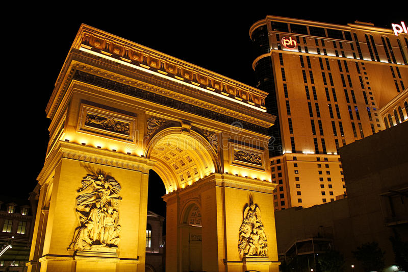 Paris Las Vegas hotel and casino. On October 08, 2016 in Las Vegas. As its name suggests, its theme is the city of Paris in France; it includes a 5/8ths scale royalty free stock photos