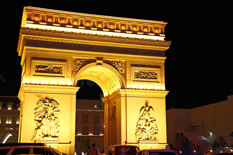Paris Las Vegas hotel and casino. On October 08, 2016 in Las Vegas. As its name suggests, its theme is the city of Paris in France; it includes a 5/8ths scale royalty free stock photo