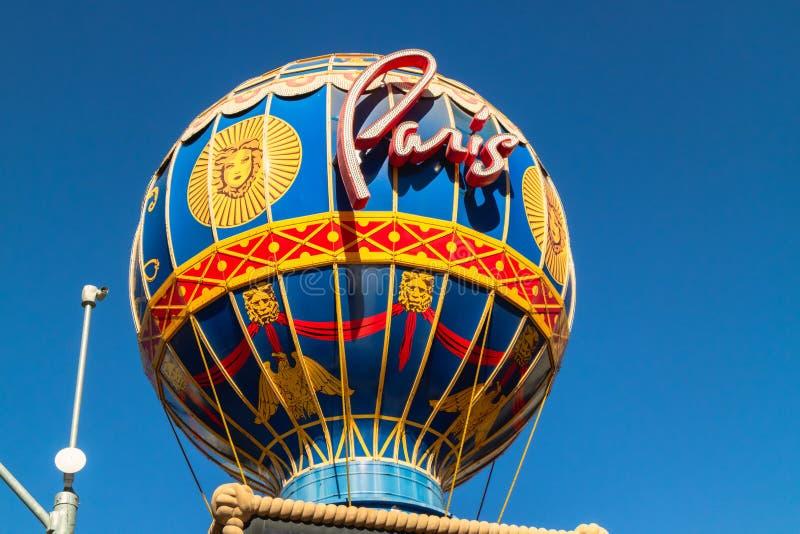 Paris, Las Vegas hotell och kasino, Montgolfier ballongslut upp, detaljer royaltyfria bilder