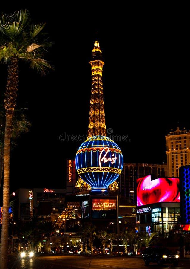 Paris Las Vegas at night in Las Vegas, Nevada, USA stock image