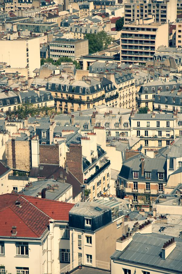 Paris leaving quarters from a birds eye perspective royalty free stock image