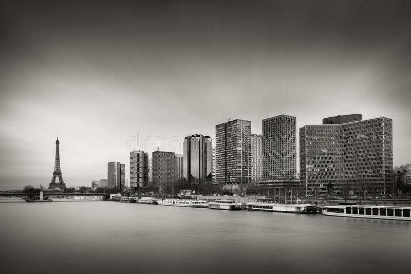 Paris Left Bank highrise buildings, Seine River and Eiffel Tower royalty free stock photo