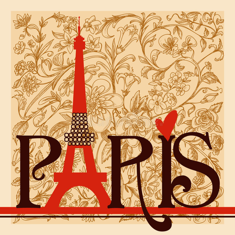 Download Paris lettering stock vector. Image of line, europe, city - 23807605