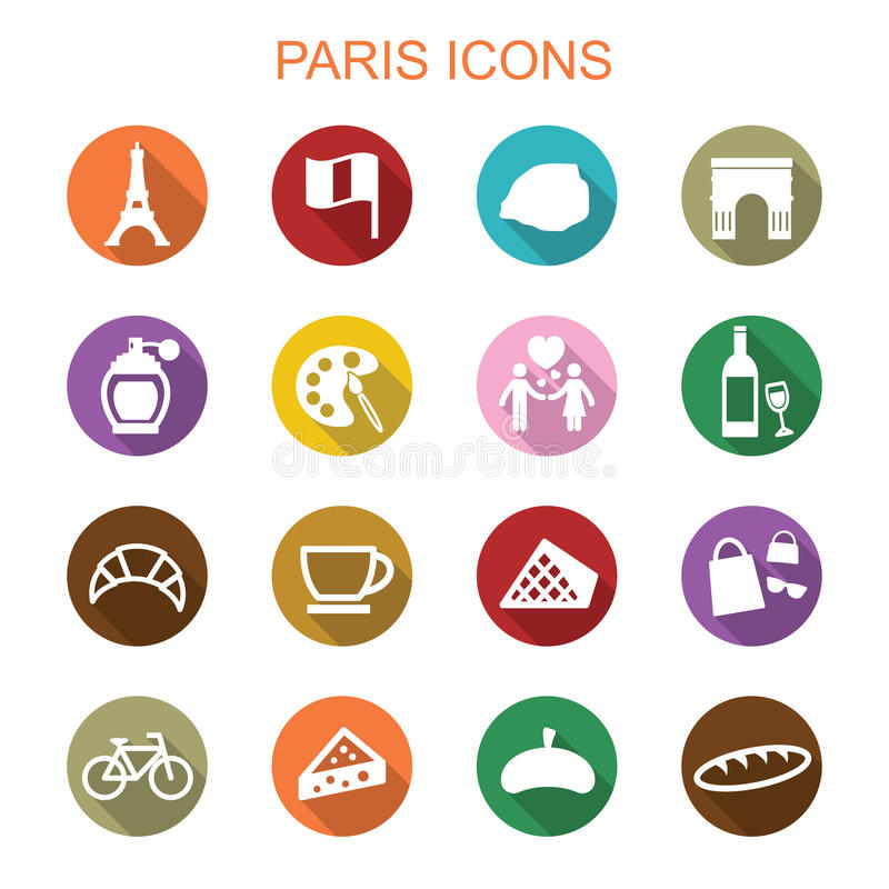 Paris long shadow icons stock illustration