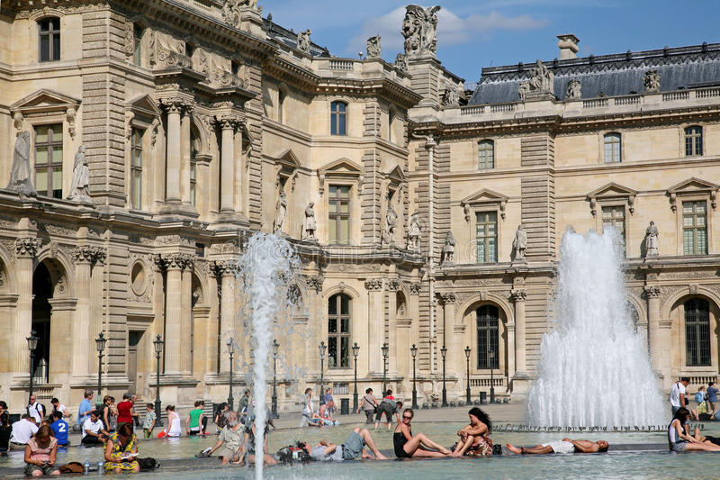PARIS - The Louvre fountain royalty free stock image