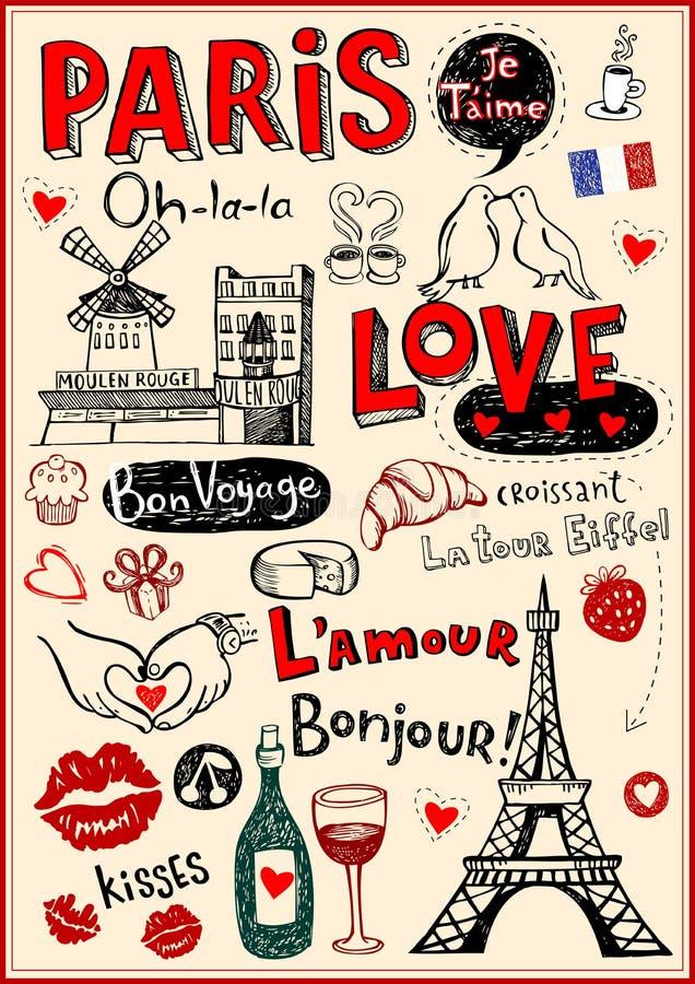Paris love doodles. Paris - a city of love and romantce vector illustration