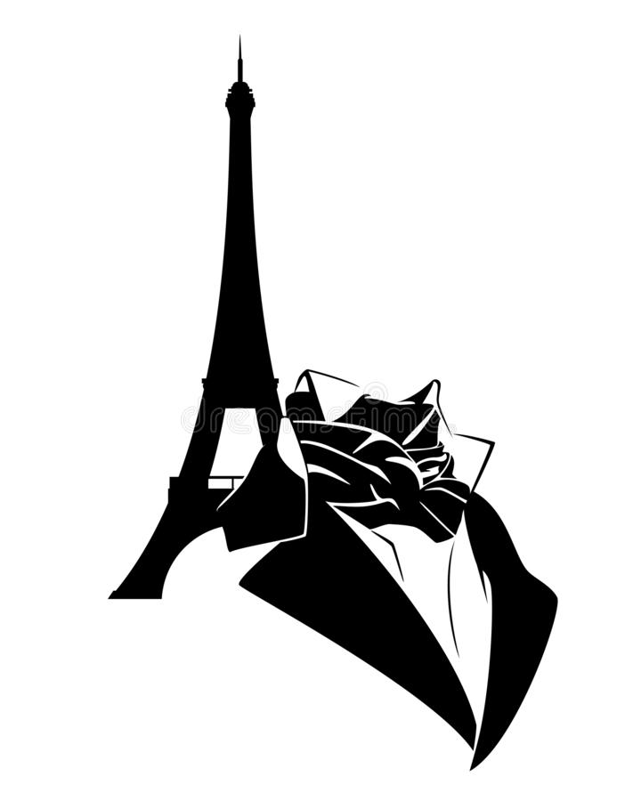 Paris man fashion clothing and eiffel tower vector outline. Elegant retro style man clothing with neck tie and eiffel tower - vintage fashion in paris black and stock illustration