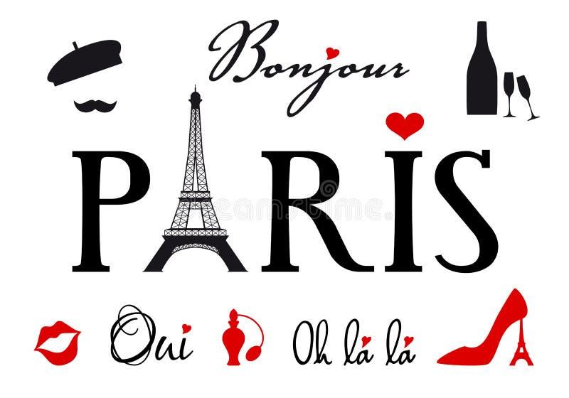 Paris med Eiffeltorn, vektoruppsättning stock illustrationer