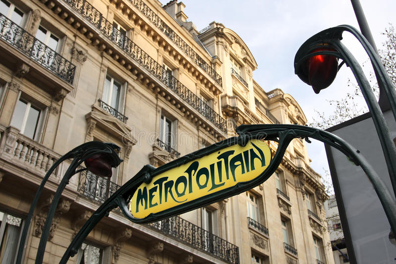Paris metro, France. A sign at the entrance to the Paris Metro. In Art-Deco style royalty free stock images