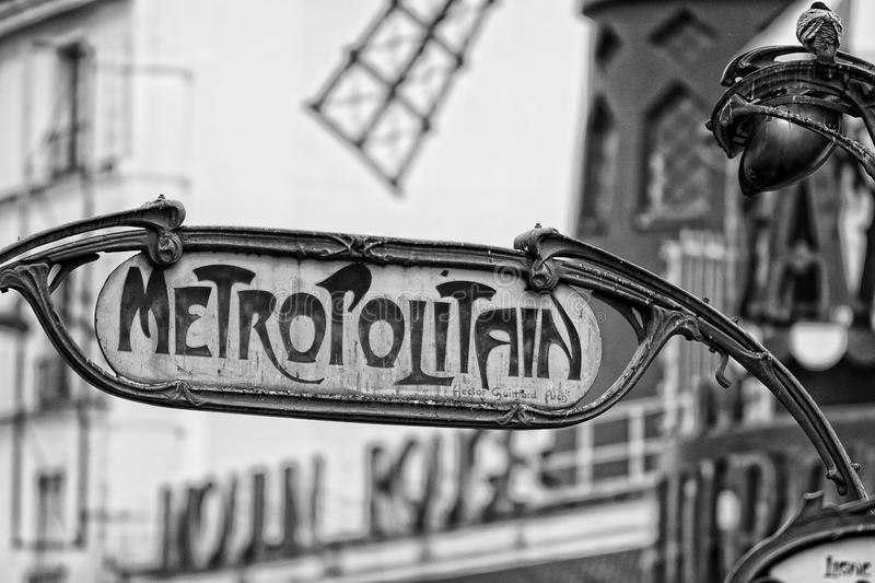 Paris Metro Metropolitain Sign in black and white royalty free stock photos