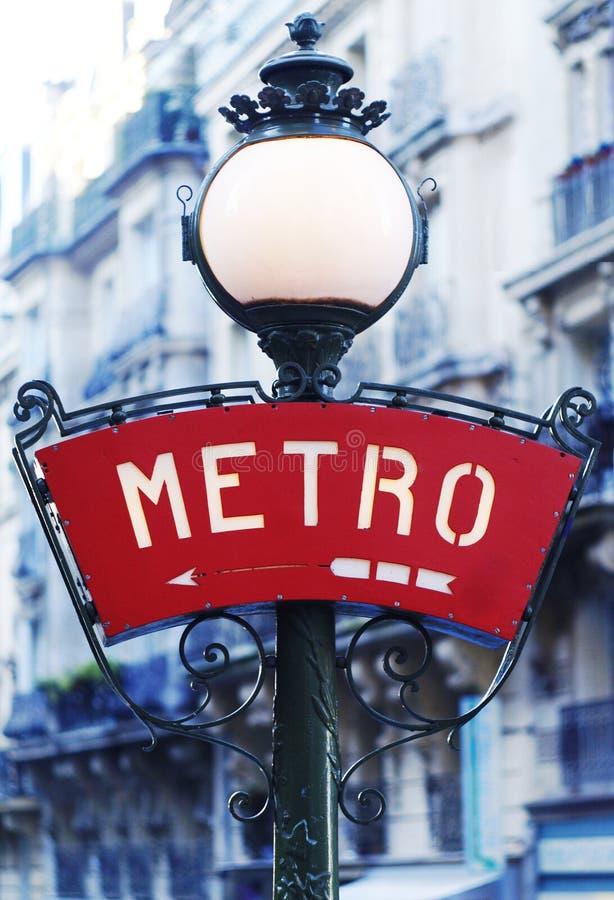 Paris metro sign stock images