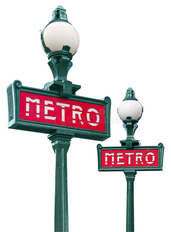 Paris metro sign. Isolated on white stock photography
