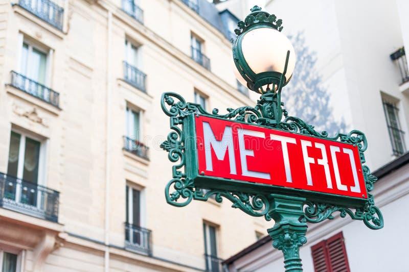 Paris Metro Sign. A traditional Metro sign in downtown Paris, France stock photos