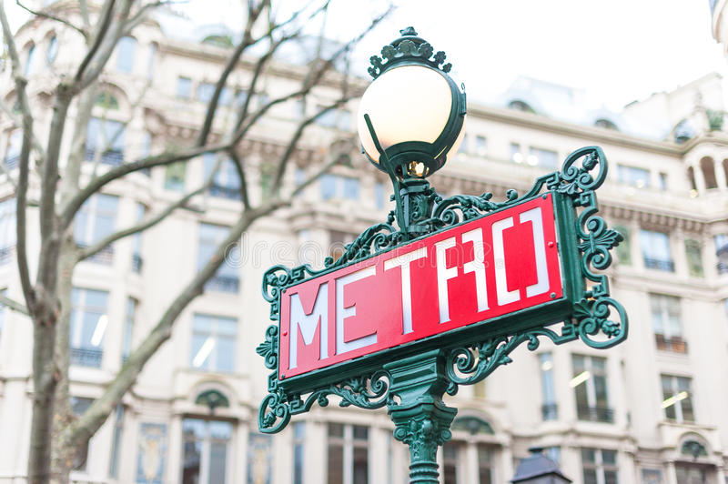 Paris Metro Sign. A traditional Metro sign in downtown Paris, France stock photography