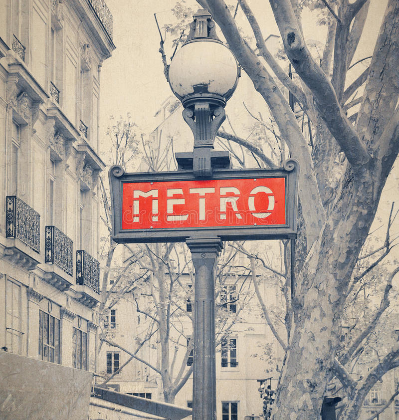 Paris Metro subway sign with retro vintage Instagram style effect royalty free stock images