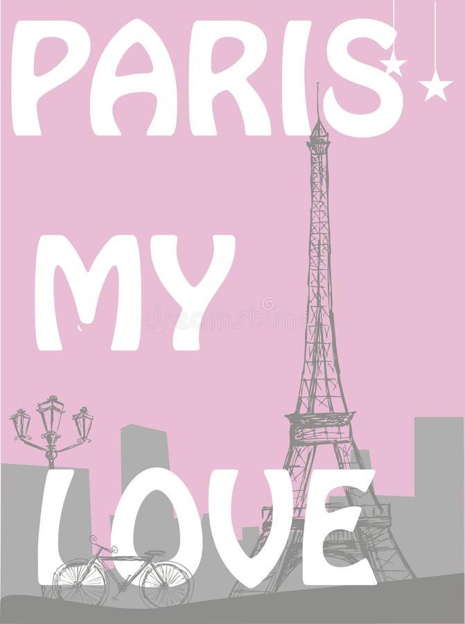 Paris - meu amor As palavras em um fundo da cidade com reboque de Eiffel ilustração royalty free