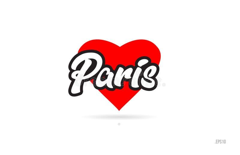 paris miasta projekta typografia z czerwonym kierowym ikona logem ilustracji