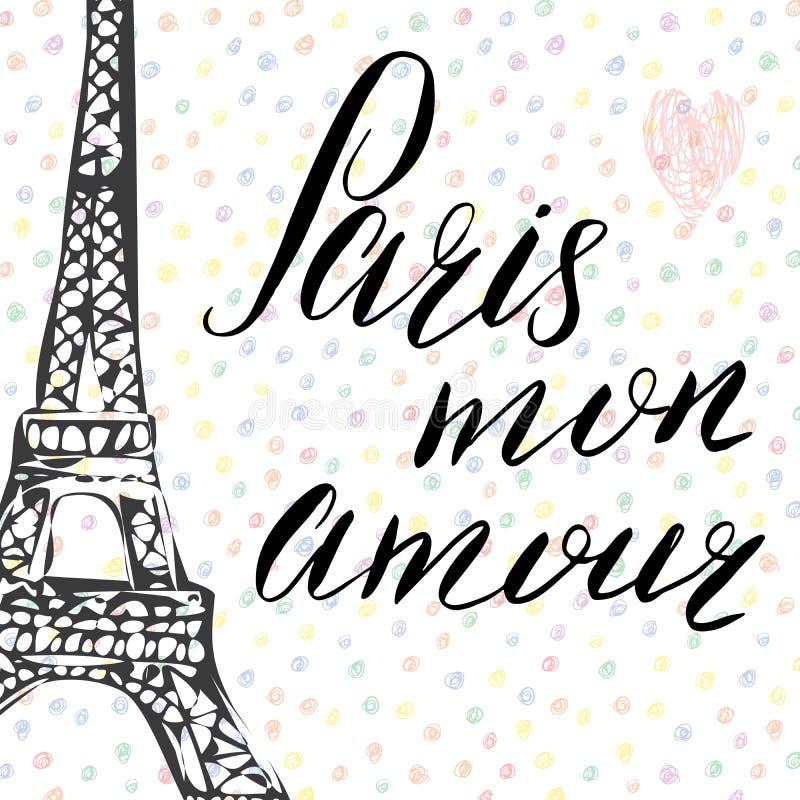 Paris min förälskelse som märker tecknet, fransmanord, med den drog handen, skissar Eiffeltorn på abstrakt bakgrundsvektorillustr royaltyfri illustrationer