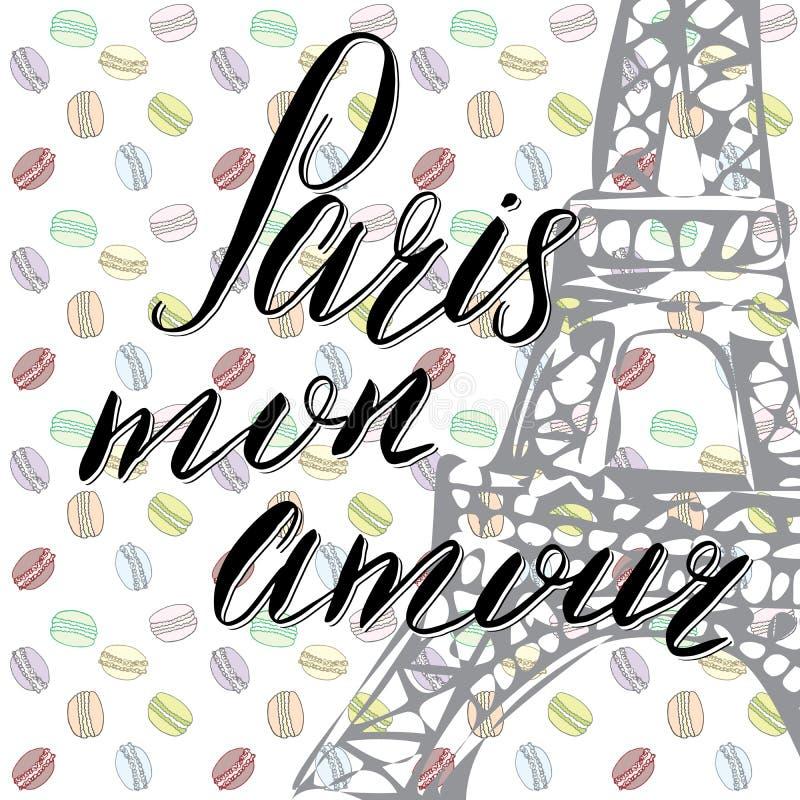 Paris min förälskelse som märker tecknet, fransmanord, med den drog handen, skissar Eiffeltorn på abstrakt bakgrundsvektorillustr stock illustrationer