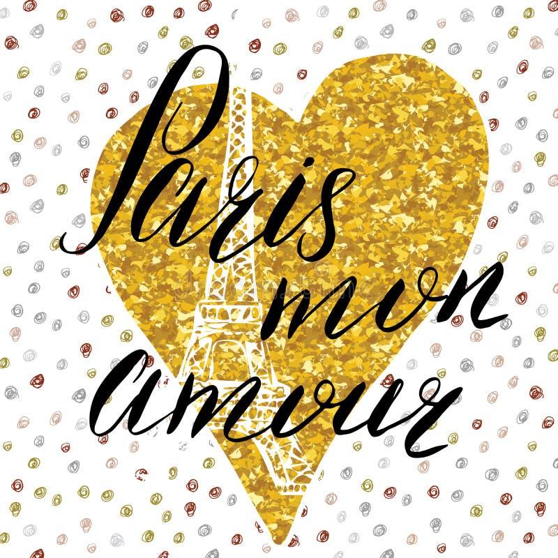Paris min förälskelse som märker tecknet, på guld, blänker hjärta med den drog handen skissar Eiffeltorn på abstrakt bakgrundsvek stock illustrationer