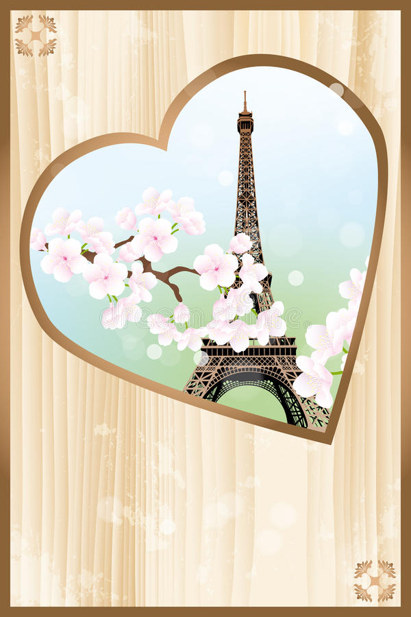 Paris mon amour - Paris my love. Heart shaped retro design of Eiffel tower with cherry blossoms - eps 10 vectors royalty free illustration